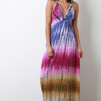 Tie Dye Jersey Knit Crisscross V-Neck Maxi Dress | UrbanOG