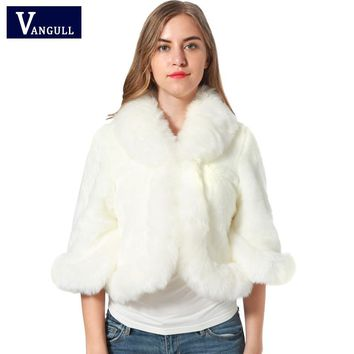 Fur Faux Fur Coat Mink Hair Rex Rabbit Hair Cape Jacket 2017 Black White Fur Overcoat Imitation Rabbit Fur Faux Fox Collar XXXL