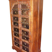 INDIAN Armoire Antique, Mehrab iron brass cladded arched Doors ecelectic bohemian interiors