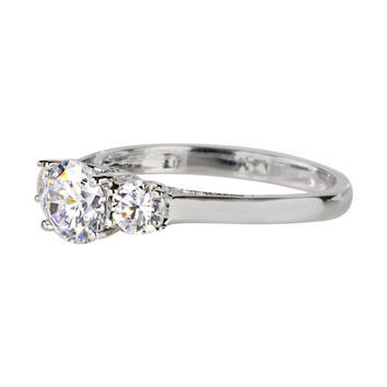 Sterling Silver 6mm Three Stone CZ Ring with Rhodium anti-tarnish