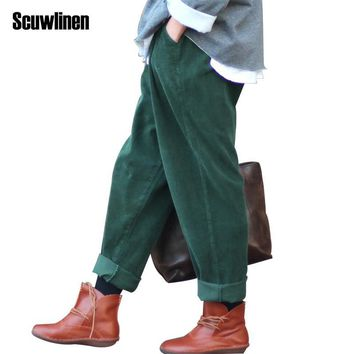 SCUWLINEN 2017 Spring Winter Women Pant Corduroy Harem Pants Ladies Casual Trousers Elastic Waist Full Pants Women Hip Pants S64