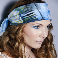 Cotton silk mix head scarf