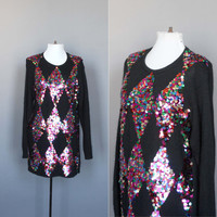 Vintage Sequin Sweater or Mini Dress with Colorful Sequins in Argyle Pattern 80s 1980s Ugly Sweater Silk and Angora Medium Large