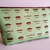Western Mustache Extra Large Cosmetic Bag Toiletry Bag Travel Bag Makeup Bag
