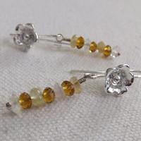 Citrine, Crystal, and Silver Blossom Earrings