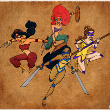 Teenage Disney Ninja Princesses Art Print by Sarah J | Society6