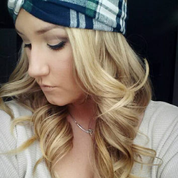 Plaid Green Navy and Cream Twist Headband