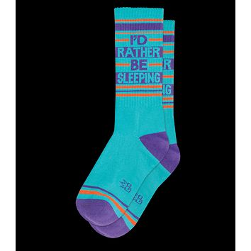 I'd Rather Be Sleeping Ribbed Gym Socks in Turquoise
