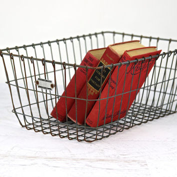 Locker Basket, Vintage Metal Wire Basket, Industrial Decor, Vintage School Locker Basket