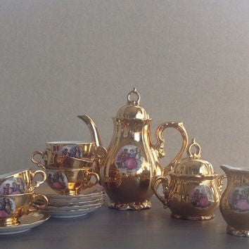 Vintage Gold Porcelain Child's Tea Set