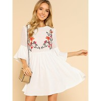 White Round Neck Floral Print Embroidered Shift Dress