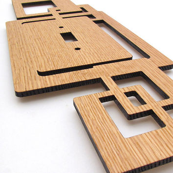 Modern Rustic Squares Wood Switch Plate Cover by TimberGreenWoods