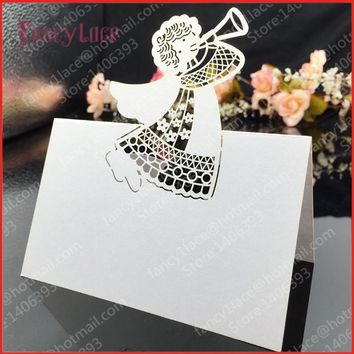 hot-selling 50pcs/lot Laser Cut Angel Laser Wedding Party Table Name Place Cards Favor Decor Christmas Table Card free shipping