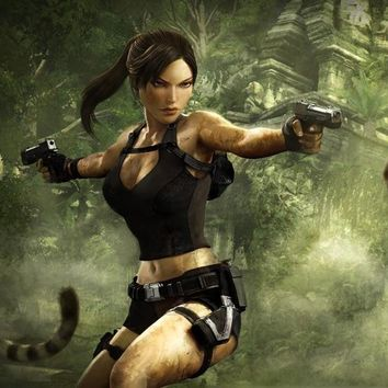 "Tomb Raider Underworld Lara  Game Watercolor inkjet Fabric poster 43"" x 24""   24"" x 13""--093"