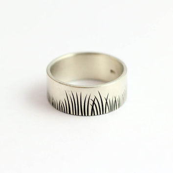 Wedding Band Native Grasses Ring in Eco Friendly Recycled Sterling Silver