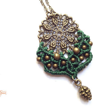 Green Mandala with pinecone Hippie-chic minimalist handwoven pendant on a antique bronze color chain micro macrame boho gypsy bohemian
