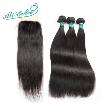 Ali Grace Hair Brazilian Straight Human Hair 3 Bundles Deal With 4*4 Lace Closure Free Part Natural Color Remy Hair