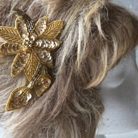 Vintage Sequinned Hair Ornament,Sequinned Barrette,Gold Hair Accessory,Beaded Hair Clip,Hair Ornament,Sparkly Hair Piece,Sequinned Hair Clip