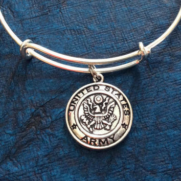 Army Expandable Silver Bracelet Adjustable Wire Bangle Military Gift Wife Mom Girlfriend Stacking Trendy