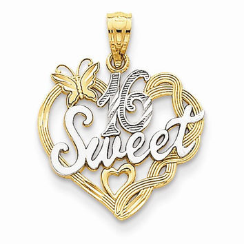 14k Two Tone Gold Sweet 16 Charm Pendant