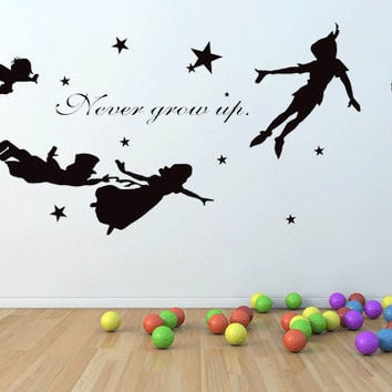 XXL Peter pan, never grow up wall decal, mural, stickers, wall art, tinkerbell, wendy, stars.