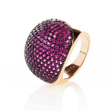 22ct Rose Gold Vermeil Micro Pave Statement Cocktail  Ball Ring - Ruby Zircon