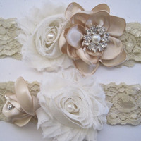 Champagne and Ivory Romantic Rose Handmade Flower Garter Set with Pearl and Rhinestone Accents Custom Made Ready to ship