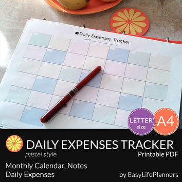 DAILY EXPENSES TRACKER pdf. A4 and Letter Size. Printable Financial Binder and organizer. Daily/Monthly Budget planner. Instant download.
