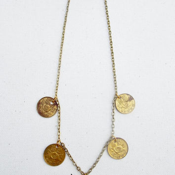 Gypsy Coin Necklace, Korea Coin Necklace, Ethnic Coin Necklace, Boho Coin Necklace, Coin Necklace, Gold Coin Necklace