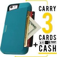 iPhone 5c Wallet Case - Slite Card Case for iPhone 5c by CM4 - Pacific Green- [Ultra Slim Protective iPhone Wallet]