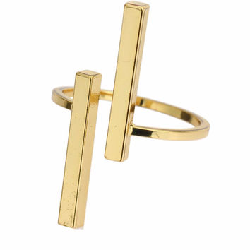 Gold Minimalist Dainty Unisex Uneven Double Bar Ring