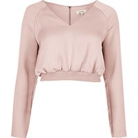 Pink satin sports crop top - crop tops / bralettes - tops - women
