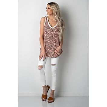 Coral Leopard Thermal Knit Tank Top
