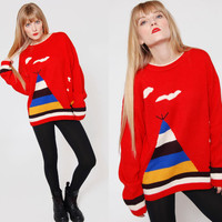 Vintage 80s NOVELTY Sweater Red Color Block TEEPEE Print Knit Pull Over Jumper