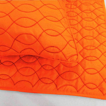 Cotton Orange Twin Size Quilted Bedspread Coverlet Set Solid Colour Quilt  With 2 Pillows In Size