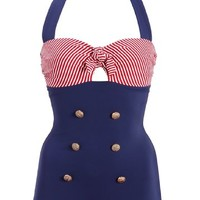 50s Retro Sailor Nautical One Piece Swimsuit Swimwear