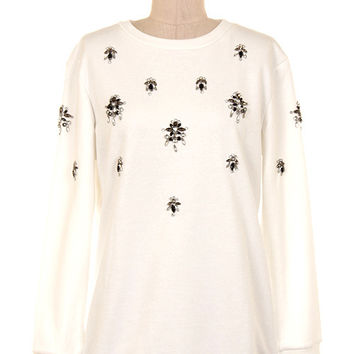 Shimmering Crystal Embellished Sweater