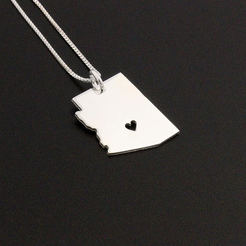 Arizona State necklace Arizona necklace sterling silver Arizona state necklace with heart comes with Box chain