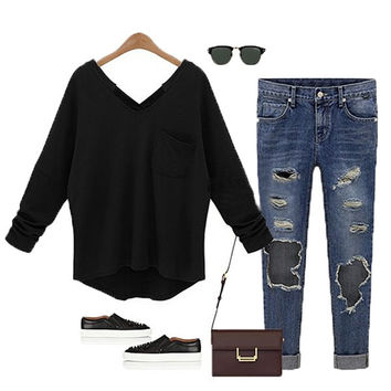 Womens Fashion V Neck Batwing Long Sleeve T-Shirts Loose Cotton Tops Blouse = 1945674500