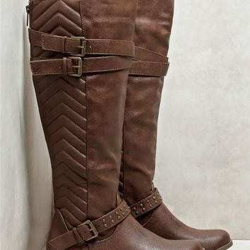 Chevron Quilted Rider Boots
