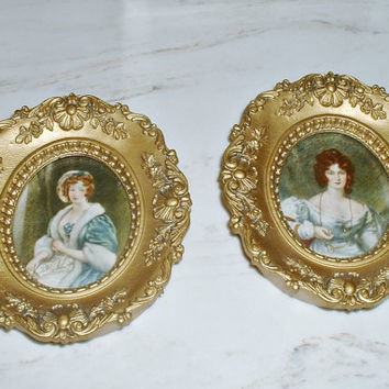 Cameo Creations Portraits Frames  Mrs. Croker and Mary by Vincent Nesbert Vintage Lot of 2