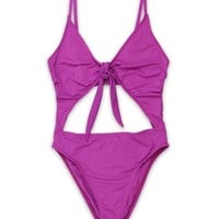 Tie Front Cheeky Coverage One Piece in Purple