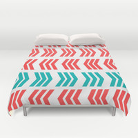 Aqua Pop and Coral Zig Zag Duvet Cover by Lisa Argyropoulos | Society6