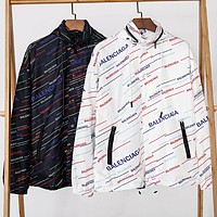 BALENCIAGA Hot Sale Print Hoodie Zipper Jacket Coat Sun-Protective Windbreaker