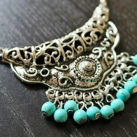 Tibetan Turquoise Necklace - Boho Jewelry, Handmade Jewelry, Unique Jewelry