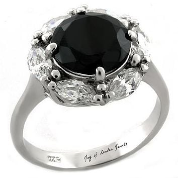 The Carrie, A Flawless 4.4CT Round Cut Black Russian Lab Diamond Halo Ring