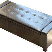 Guernsey Black Leather Storage Ottoman