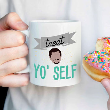 Parks and Rec Tom Haverford Quote: Treat Yo Self mug