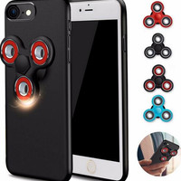 Mrs Win Hard Thin Protective Cover Cases Phone Case with Fidget Finger Spinner Protable Removeable for IPhone 6 6s 7/7 Plus