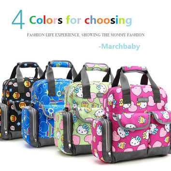 Free Shipping! New Large Capacity Multifunctional Mommy Bag Baby Hello Kitty backpack nappy bag baby diaper bags 5pcs/set